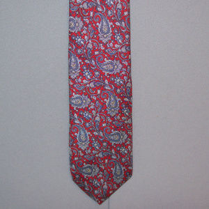 Christian Dior Gray Red Paisley Silk Neck Tie #150